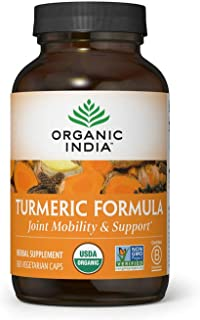 Organic India Turmeric Curcumin Herbal Supplement - Joint Mobility & Support, Immune Support, Healthy Inflammatory Respons...
