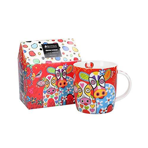 Maxwell & Williams Love Hearts - Tazza con scritta'Happy Moo Day', in porcellana, colore: rosso, 370 ml