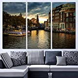 None brand 3 Paneles Canvas Art Amsterdam House Canal Home Decor Wall Art Painting Canvas Prints Pictures for Living Room Poster-40 cm x 80 cm * 3 Piezas sin Marco