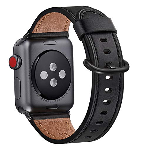 WFEAGL Compatible iWatch Band 38mm 40mm 42mm 44mm, Top Grain Leather Bands of Many Colors for iWatch SE & Series6,Series 5,Series 4,Series 3,Series 2,Series 1 (Black Band+Black Adapter, 38mm 40mm)