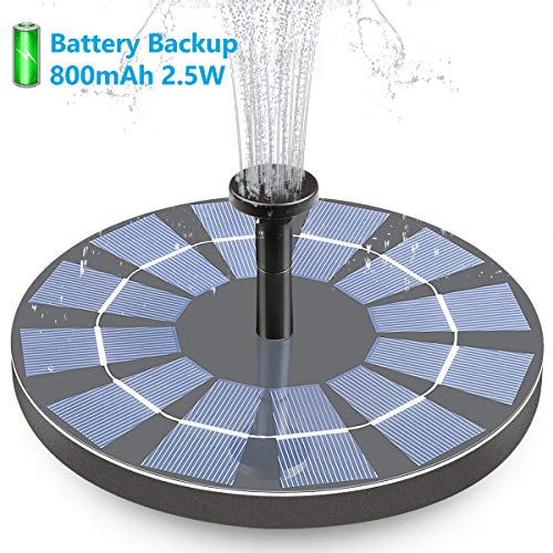 Hiluckey Solar Bird Bath Fountain with Battery Backup, 2.5W Free Standing Solar Powered Water Fountain Pump Kit for Birdbath Garden Outdoor