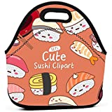 Mittagessen Tasche,Nette Sushi Clipart Lustige Bunte Taschen-Handtaschen Mit Reißverschluss Für Das Kinderreiseklettern