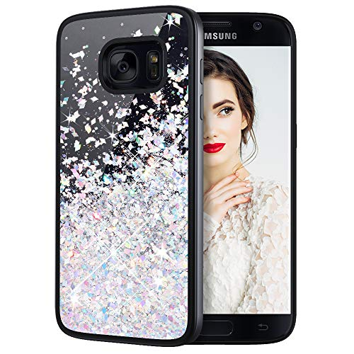 Caka Galaxy S7 Case, Galaxy S7 Glitter Case Starry Night Series Luxury Fashion Bling Flowing Liquid Floating Sparkle Glitter Girly Soft TPU Case for Samsung Galaxy S7 (Silver)