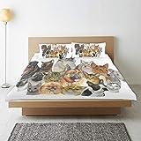 DAHALLAR Bedding Juego de Funda de Edredón,Representación del Grupo de Mascotas con Sombra Vibrante Gatos y Perros Pastor Australiano,Microfibra SIN LLENAR,(Cama 140x200 + Almohada)