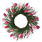 PRETYZOOM Tulipe Couronne de Fleurs Guirlande Florale Artificielle Guirlande Porte D'entrée Mariage Maison Décorations Suspendues