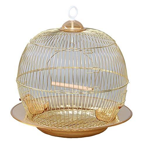Meetshine Papageienzuchtkäfig Runder Vogelkäfig Überzug Gold Zierkäfig Durchmesser 38 cm,Gold,Standard