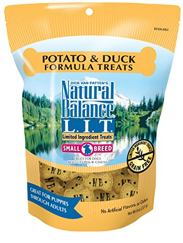 Natural Balance L.I.T. Limited Ingredient Treats Small Breed Dog Treats, Potato & Duck Formula, 8 Ounce Pouch, Grain Free