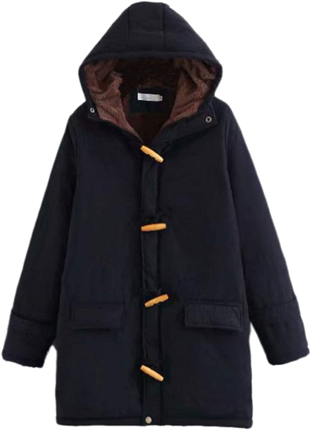 Lentta Women's Slim Toggle Button Thick Hoodie Fleece Sherpa Lined Parka Jackets
