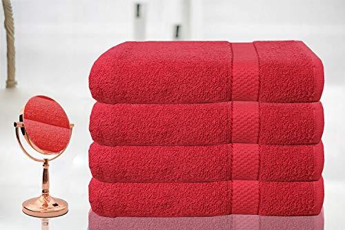 BellaCasa Casabella - Juego de 4 Toallas de baño (tamaño Grande, 100% algodón Egipcio Peinado), 100% algodón, Morado, 4 Bath Sheet