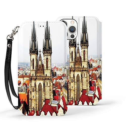 Iphone12 Series Flip Case With Card Holder Pu Leather+Tpu Cover Wanderlust Decor Collection Bird Eye Prague View And Tyn Church Castle Houses Autumn Old Town Square Picture Grey Ivory Burgundy