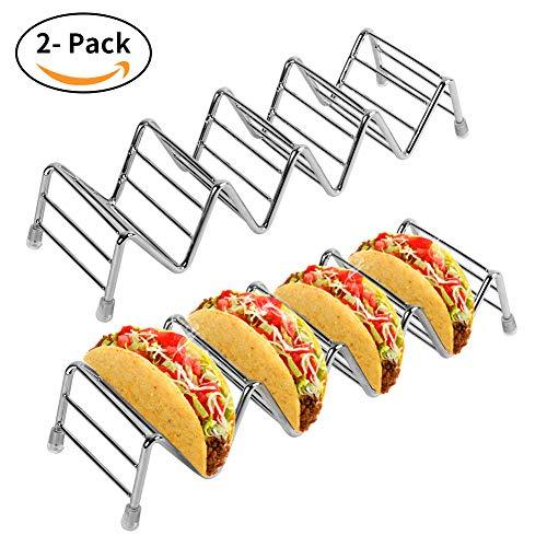 Eatbuy Juego de 2 Soportes para Tacos de Acero Inoxidable Premium, Soporte para Tacos de Acero Inoxidable Premium para Tacos de cáscara Dura o Blanda