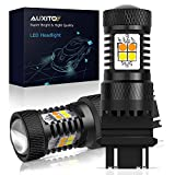 AUXITO White and Amber Dual Color Switchback 3157 3155 3457 4157 LED Bulbs with Projector 3030 Chipsets for Car Turn Signal Lights Parking Lights, (Pack of 2)