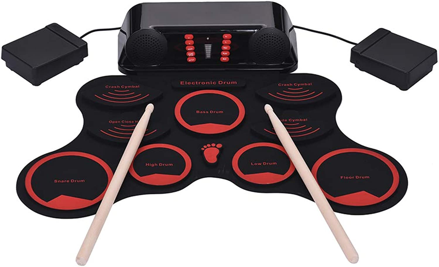 Portable Electronic Drum Set, Digital Electronic Drum Kit 9 Silicon Drum Pads Built-in Double Speakers with Drumsticks Foot Pedals USB Cable