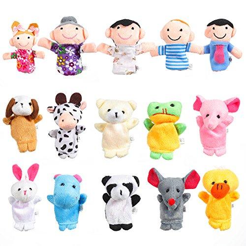 Acekid 16pcs Marionetas de Dedo Animales y Familiares Marionetas de Mano Baby Story Time Props