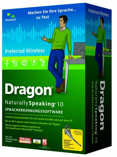Nuance Dragon NaturallySpeaking 10 Preferred Wireless, DE - Software de reconocimiento de voz (DE, Intel Pentium4/AMD Athlon 64 1GHz, DEU, Windows Server 2000/Windows XP (SP2)/ Windows 2000 (SP4)/Vista, DVD-ROM, Microsoft Internet Explorer 6)