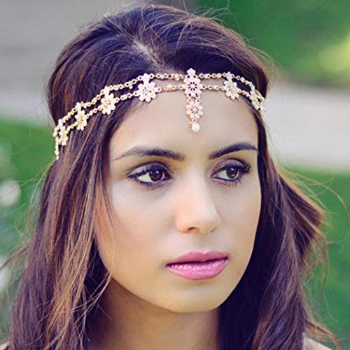 Brinote Elastic Flower Head Chain Gold Pearl and Crystal Headbands Wedding Hair Accessories for Women and Girls