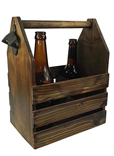 B&G Holz-Bierträger, Flaschenträger im Vintage Look, Flaschenhalter, mit Öffner, Geschenk von Bear & Goodies.mit rundem Griff