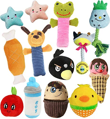 Cymiler Puppy Squeaky Dog Toys,13 Pack Plush Dog Toys for Playtime and Teeth Cleaning,Puppy Teething Toys for Medium, Small Dogs