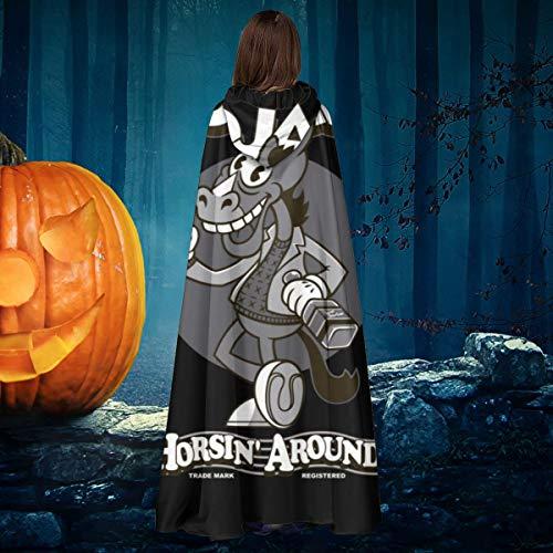 NULLYTG Bojack Horseman - Disfraz de Bruja con Capucha para Halloween, diseo de Capa de Vampiros, Color Blanco y Negro