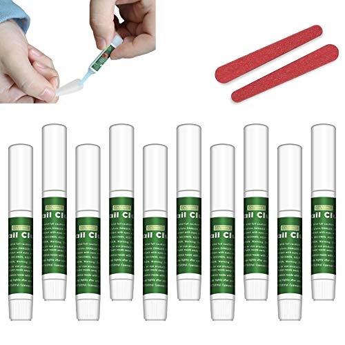 Extra starker Nagelkleber für Acrylspitzen und Druck auf den Nagel, Adhesive Super Bond für Nägel mit falscher Spitze, gefälschter Nagelkleber mit Nagelfeile für Nagelreparatur Adhesive Salon (10 pcs)