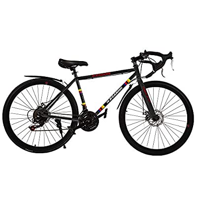 Commuter Road Bike 26 inch Wheels 21 Speed Shifting Bikes Dual Disc Brake Road Bicycle for Adults, Black