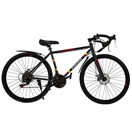 R.ROARING Commuter Road Bike 26 inch Wheels 21 Speed Shifting Bikes Dual Disc Brake Road Bicycle for Adults Mens Women, Black