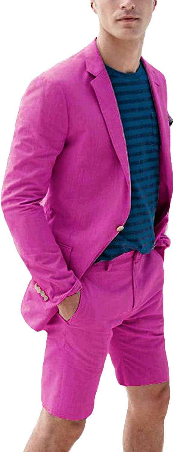 Everbeauty Sale price Many popular brands 2021 Linen Suits for Men Piece with 2 Beac Shorts