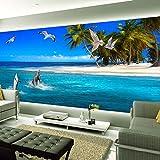 SDzuile Murales Decorativos Pared 3D Pegatinas Mural Cielo Azul Mar Delfines Cocoteros 200X140Cm Mural De Dormitorio Sala De Estar Extraíbles Papel Pintado Tejido No Tejido Decoración De Pared