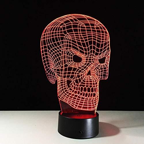 Yujzpl 3D-illusielamp Led-nachtlampje, USB-aangedreven 7 kleuren Knipperende aanraakschakelaar Slaapkamer Decoratie Verlichting voor kinderen Kerstcadeau-Halloween botten