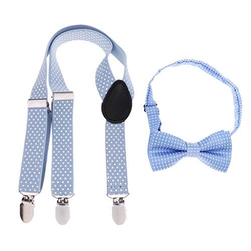 IPOTCH Tirante con Pajarita de Niños Y-forma Elástico Ajustable con 3 Clips para Pantalones Vaqueros Cortos Ancho 2.5cm