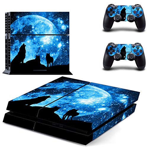 ZOOMHITSKINS PS4 Console and Controller Skins, Black Wolf Sky Moon Blue Devour Stars Night Animal Lone Howl, Durable, Bubble-free Goo-free, 1 Console Skin 2 Controller Skins, Made in USA