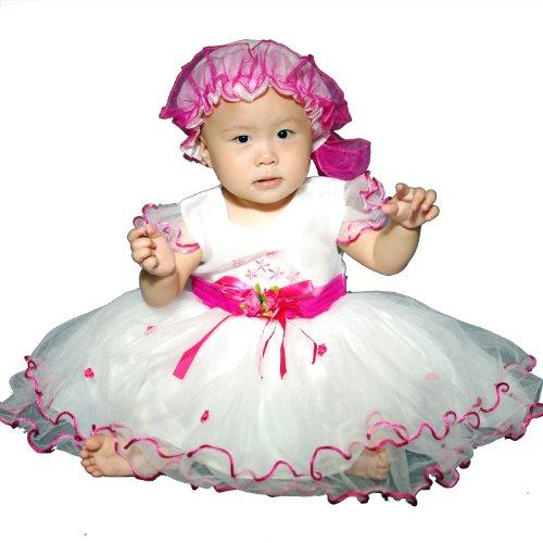 Baby Girls Christening/Wedding/Party Robe avec bonnet - Hot Pink - 9/12 mois