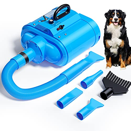 LAN TUN Dog Dryer, 5.0HP Stepless Adjustable Speed Dog Hair Dryer, Pet Dog Grooming Dryer Blower with Heater, Flexible Hose, 4 Nozzles, Dog Hair Force Dryer for Medium/Large Dogs