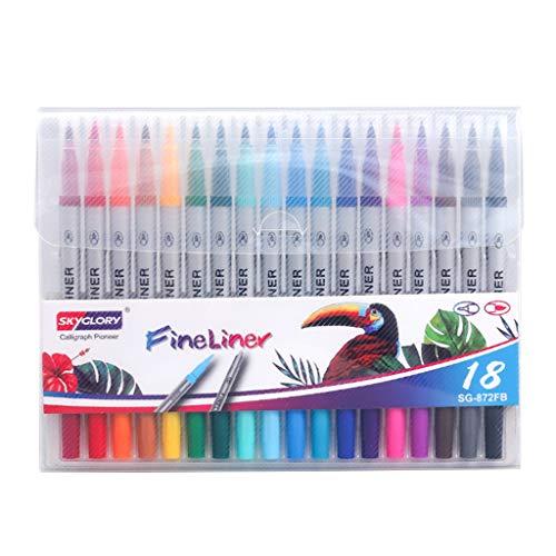 BANGNA 12/18/24 / 36Pcs Pincel de Color Flexible de Doble Punta Fineliner Pluma de Dibujo de Acuarela
