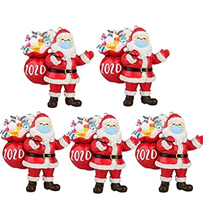 BYMYWAY 2020 Christmas Ornaments,Santa Wearing A Face Mask Decor Christmas Tree Decoration Pendant Xmas Home Decor,5 Pack