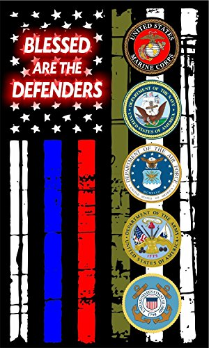 Evan Decals Thin Blue Line Red Drab Horizontal Flag Blessed are The Defenders Military Decal Vinyl Sticker 5'