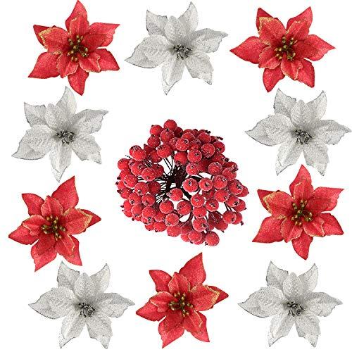 TUPARKA 116 PCS Decoraciones navideñas Brillo Artificial Flor de Pascua Flores navideñas con Holly Berry Selecciones Tallos para Adornos para árboles de Navidad de Navidad Guirnalda DIY Suministros
