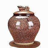 GCZZYMX Hermosa Gradiente esmalte cerámico Memorial urna del animal doméstico de la cremación urna (4 colores), Metálico,Beige