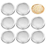 8 Pack Stainless Steel Sprouting Jar Lid Kit for Wide Mouth Mason Jars, Strainer Screen for Canning Jars and Seed Sprouting