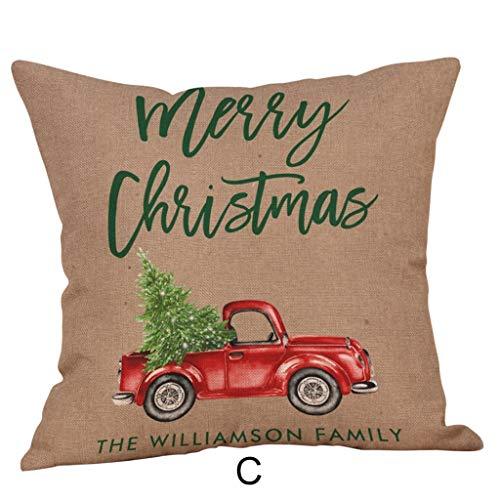 LEEDY Christmas Print Pillow Case Polyester Sofa Car Throw Cushion Cover for Home Bedroom Sofa Office Decor Supplies, 18x18