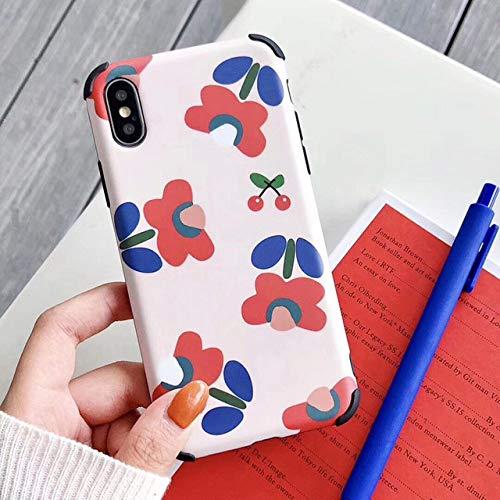 KNGYUTF telefoonhoes schokbestendig voor iPhone XR XS Max 6 6S 7 8 Plus X schattige bloem fruit zacht IMD letters achterkant beschermhoes geschenken Pour iPhone 7 ou 8 zwart.