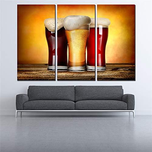 RHBNVR HD-druk canvas schilderij 3 stuks vintage plank poster Flash zwart rood bier canvas print olieverfschilderij poster afbeeldingen modulair beeld