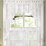 COLIBYOU Abeautifulseller Hopewell Heavy White Lace Kitchen Curtain Choice of Tier Valance or Swag (Swags)