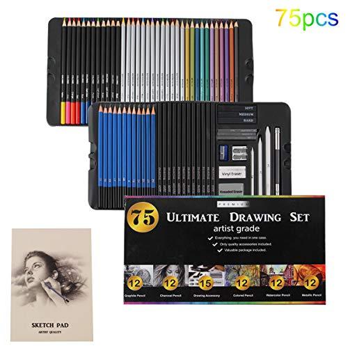AXEARTE Drawing Pencils Set, 75pcs Art Kit - 24 Colored Pencils, 12 Metallic Pencils, 12 Sketching Pencils, 12 Charcoal Pencils, 2 Pencil Sharpener, Great Art School Supplies for Kids & Adults