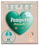 Pampers Naturello - Pannolini Contenenti Cotone e Materiali Naturali Derivanti dalle Piante, 0% Profumo, Bambini Unisex, Taglia 3 (4-9 kg), Pacco da 88