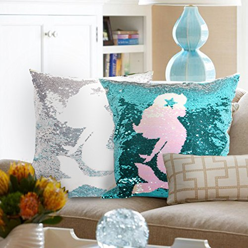 Leegleri Mermaid Reversible Sequins Pillow Case, Filp Sequin Throw Pillow Covers Decorative Cushion Cover Pillowcase for Couch Sofa Bed and Magic Mermaid Gift