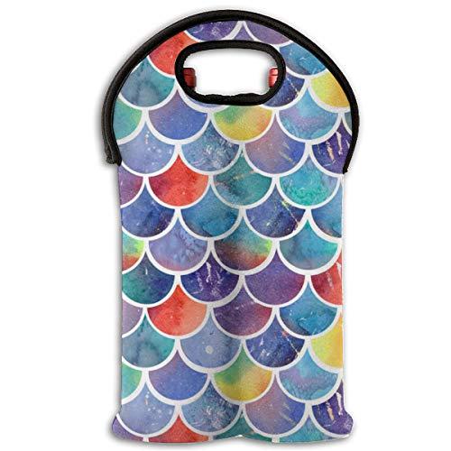 90ioup - Bolsa de viaje con diseño de pez arcoíris con purpurina para 2 botellas, poliéster, Blanco, Talla única