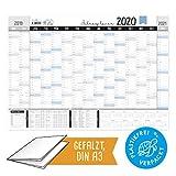 Großer Jahresplaner 2020, DIN A3 Wandkalender 19/20 im Querformat zum Eintragen, Jahreskalender mit Kalenderwochen, Schulferien, Feiertagen