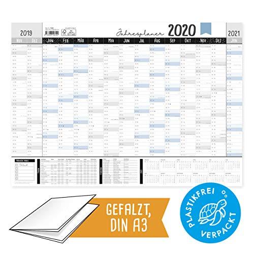 Grande calendario da parete 2019/2020, formato DIN A3 in formato orizzontale, con spazio annotazioni, calendario annuale con settimane, vacanze scolastiche, giorni festivi