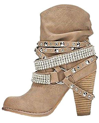 Minetom Ankle Boots Trendige Damen Stiefeletten Blockabsatz Plateau Aprikose EU 39